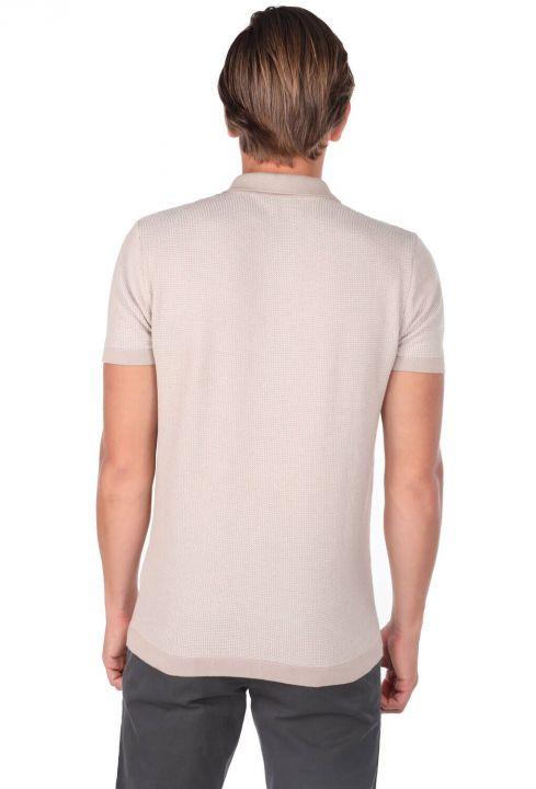 Polo Neck Beige Knitwear T-Shirt