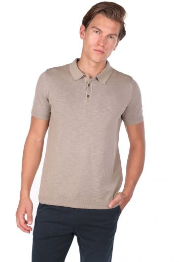 Polo Neck Men's Beige T-Shirt  - Thumbnail