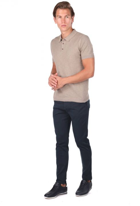 Polo Neck Men's Beige T-Shirt