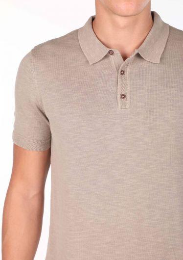 Polo Neck Beige T-Shirt - Thumbnail