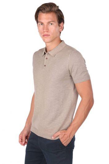 MARKAPIA MAN - Мужскаябежевая футболкасворотником-поло (1)