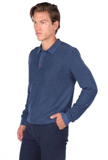 MARKAPIA MAN - Темно-синий мужской свитер с воротником-поло (1)