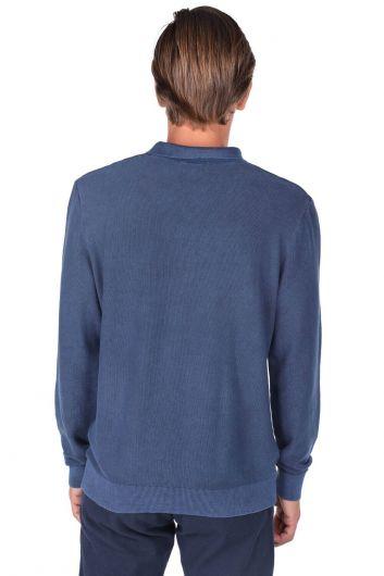 Темно-синий мужской свитер с воротником-поло - Thumbnail