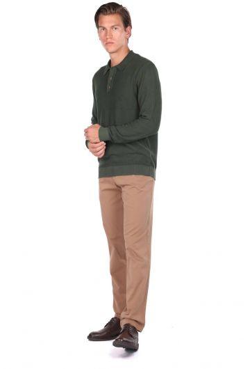 Зеленый мужской свитер с воротником-поло - Thumbnail