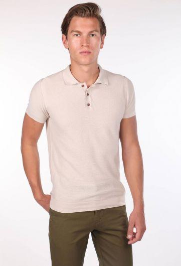 Polo Neck Knitwear Beige Men's T-Shirt - Thumbnail
