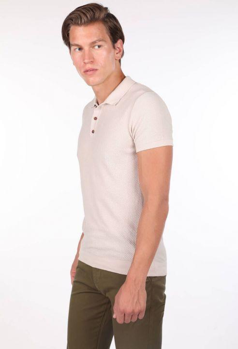 Polo Neck Knitwear Beige Men's T-Shirt