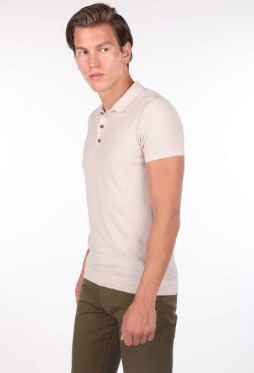 Трикотаж с воротником-поло Бежевая мужская футболка - Thumbnail