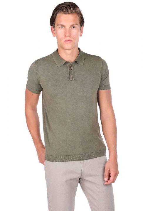 Polo Neck Knitwear Khaki T-Shirt