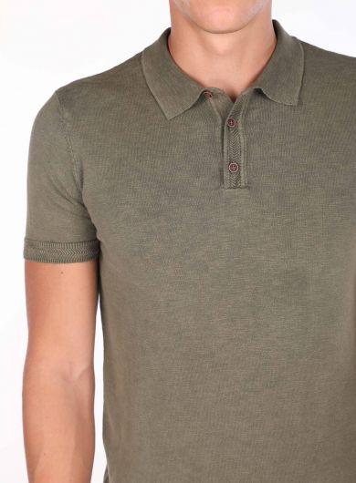 Polo Neck Knitwear Khaki T-Shirt - Thumbnail