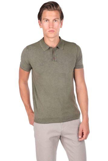 Трикотажная футболка с воротником-поло Футболка цвета хаки - Thumbnail