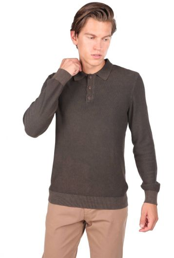 Men's Brown Polo Neck Sweater - Thumbnail