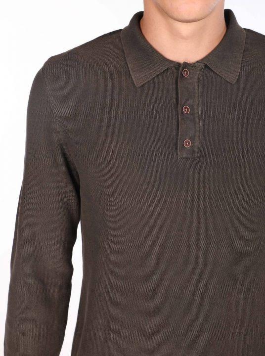 Men's Brown Polo Neck Sweater