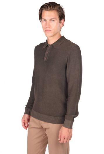 MARKAPIA MAN - Мужской коричневый свитер с воротником-поло (1)