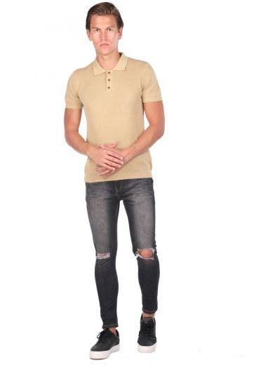 Трикотажная мужская футболка с воротником-поло - Thumbnail