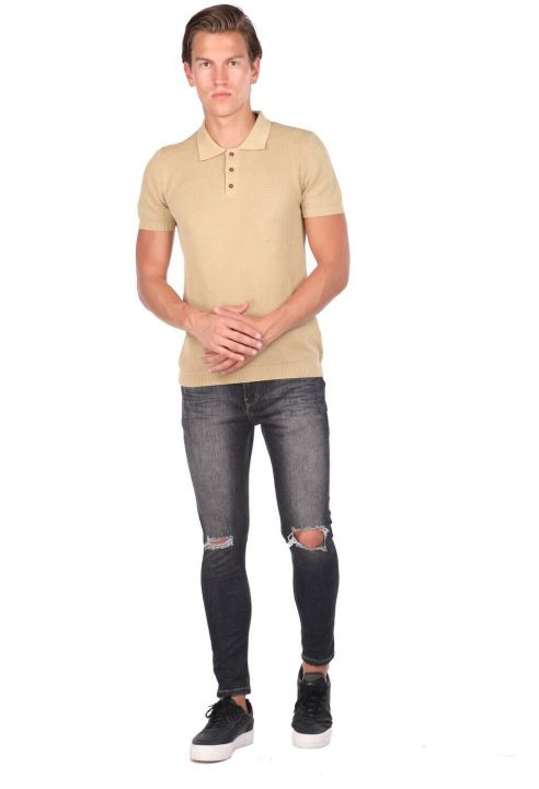 Трикотажная мужская футболка с воротником-поло