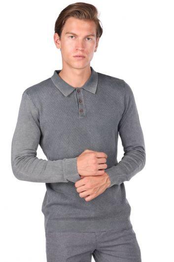 Anthracite Men's Polo Neck Sweater - Thumbnail
