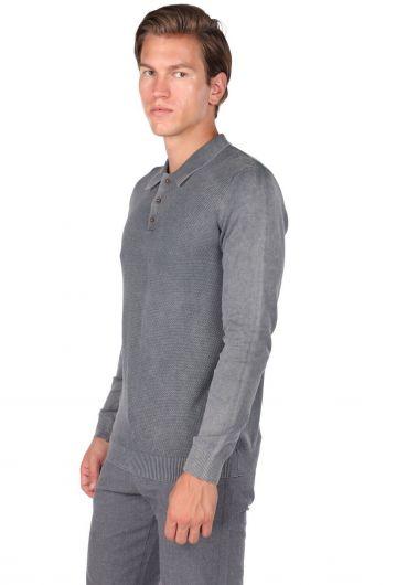 MARKAPIA MAN - Мужской свитер с воротником-поло антрацитового цвета (1)