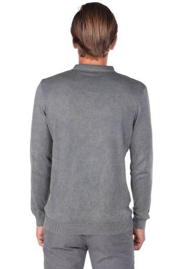 Мужской свитер с воротником-поло антрацитового цвета - Thumbnail