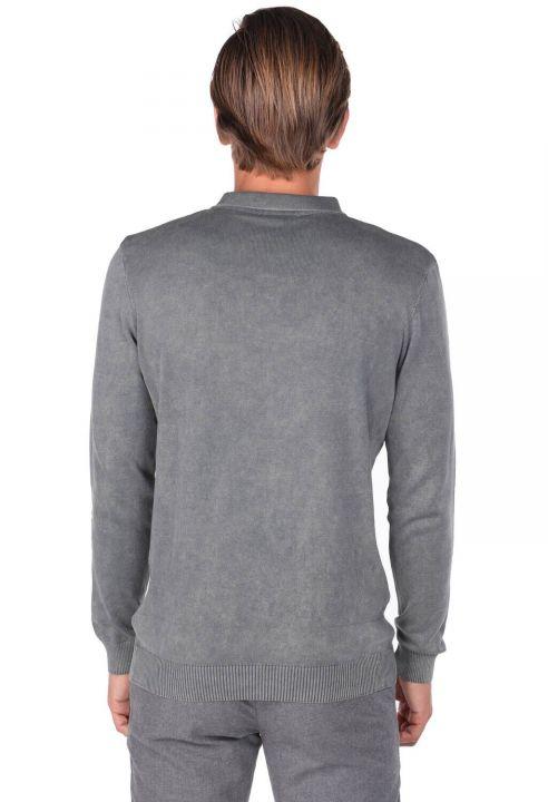 Мужской свитер с воротником-поло антрацитового цвета