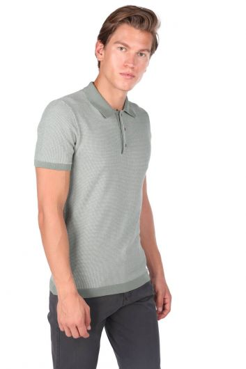 Polo Neck Men's Knitwear T-Shirt - Thumbnail