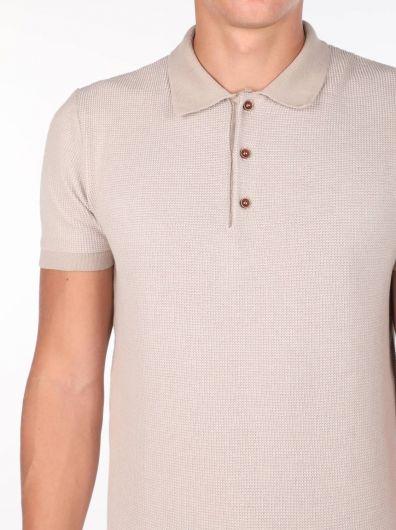 Polo Yaka Bej Triko Erkek T-Shirt - Thumbnail