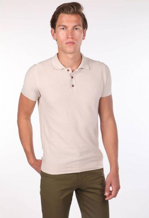 Polo Yaka Triko Bej Erkek T-Shirt