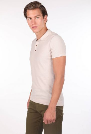 MARKAPİA MAN - Polo Yaka Triko Bej Erkek T-Shirt (1)