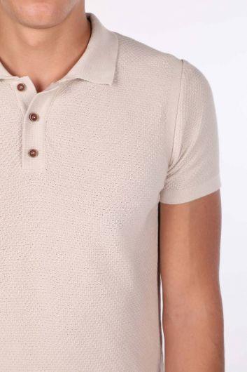 Polo Yaka Triko Bej Erkek T-Shirt - Thumbnail
