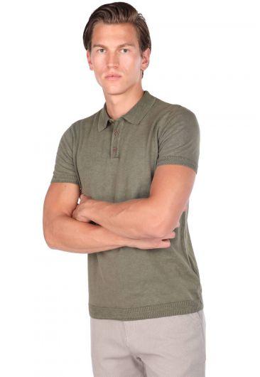 MARKAPİA MAN - Polo Yaka Triko Haki T-Shirt (1)