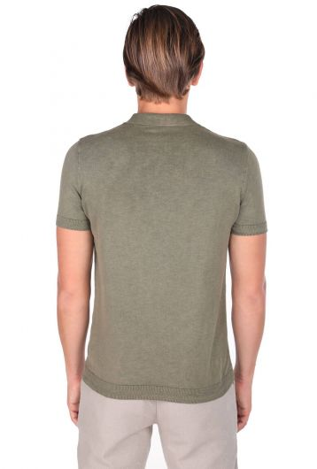 Polo Yaka Triko Haki T-Shirt - Thumbnail