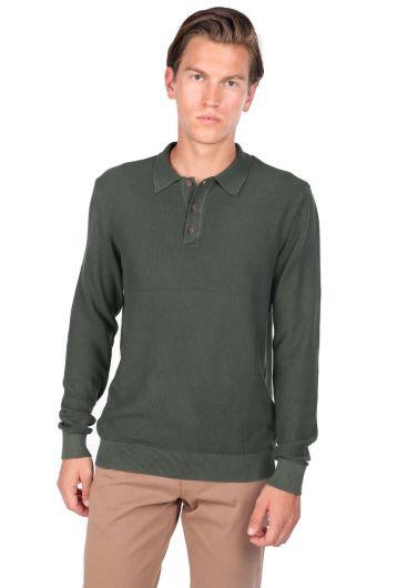 Yeşil Erkek Polo Yaka Kazak - Thumbnail