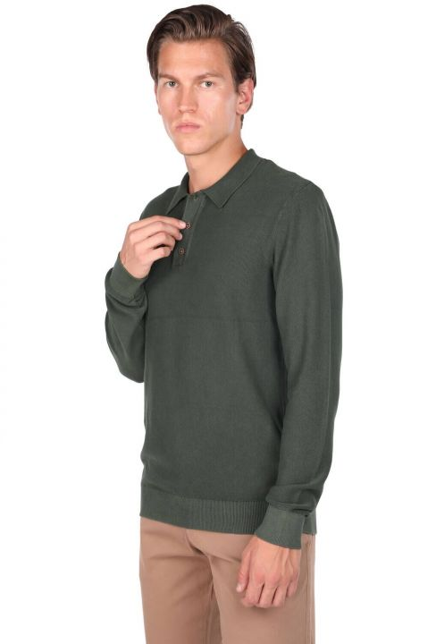 Yeşil Erkek Polo Yaka Kazak