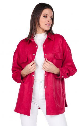 Замшевая женская куртка с цветком граната - Thumbnail
