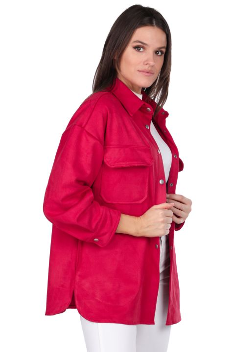Замшевая женская куртка с цветком граната