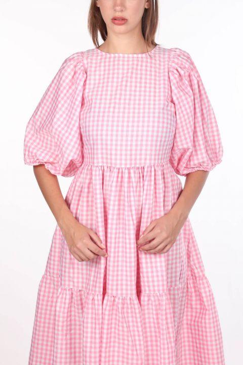 Pötikare Desenli Midi Boy Elbise