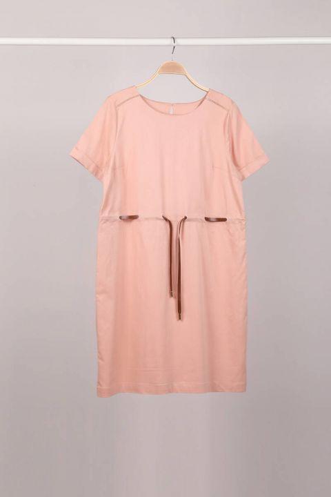 فستان نسائي بأكمام قصيرة بحزام مسحوق