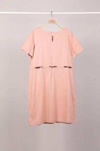 MARKAPIA WOMAN - Пудровый пояс с коротким рукавом женское платье (1)