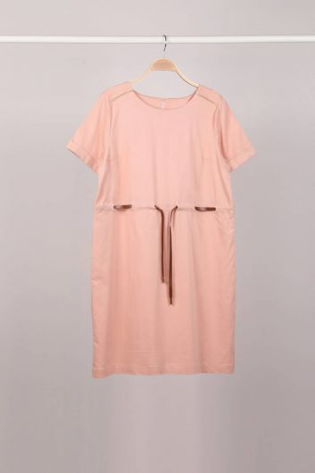 Powder Belt Short Sleeve Women Dress - Thumbnail