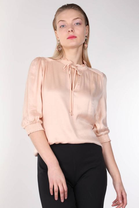 Powder Collar Frilly Women's Blouse
