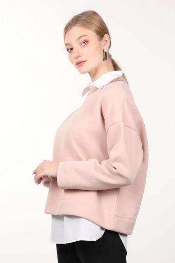 MARKAPIA WOMAN - Powder Knitted Shawl Crew Neck Women's Sweatshirt (1)