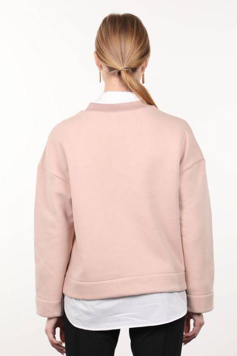 Powder Knitted Shawl Crew Neck Women's Sweatshirt