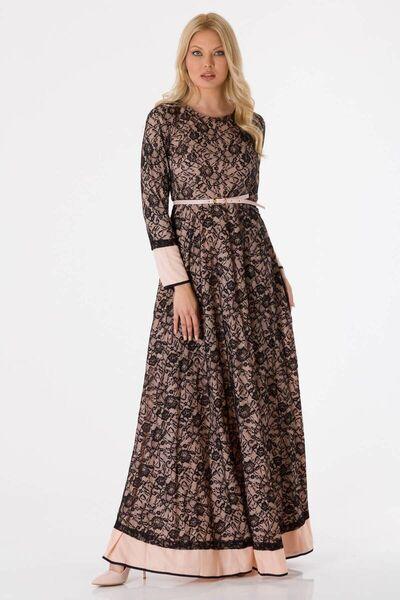 shecca - فستان سهرة دانتيل كم طويل بودرة (1)