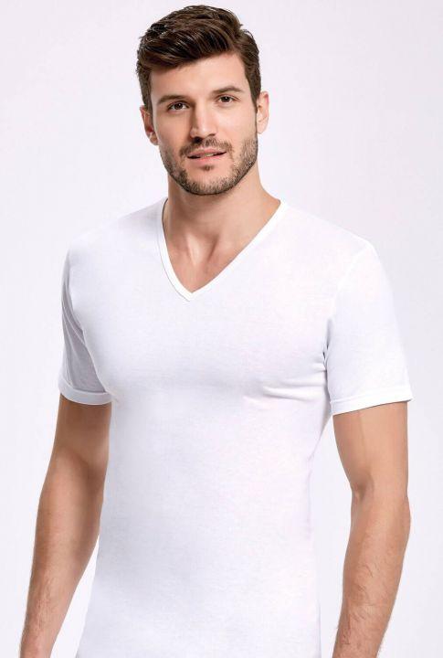 Principle 1012 Белый спортсмен-мужчина с V-образным вырезом и рукавами,3шт.