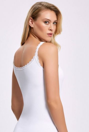 İLKE İÇ GİYİM - Principle 2211 Lycra Lacy Rope Strap White Female Athlete3Pieces (1)
