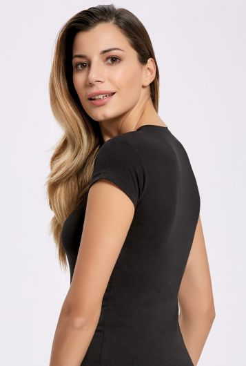 ILKE 2263 Женская футболка из лайкры с V-образным вырезом, 3 предмета - Thumbnail