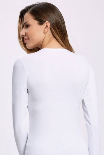 İLKE İÇ GİYİM - İlke 2310 Lycra Long Sleeve White Women's Badi 3Pieces (1)