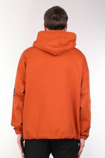 Printed Hooded Orange Oversized Men's Sweatshirt - Thumbnail