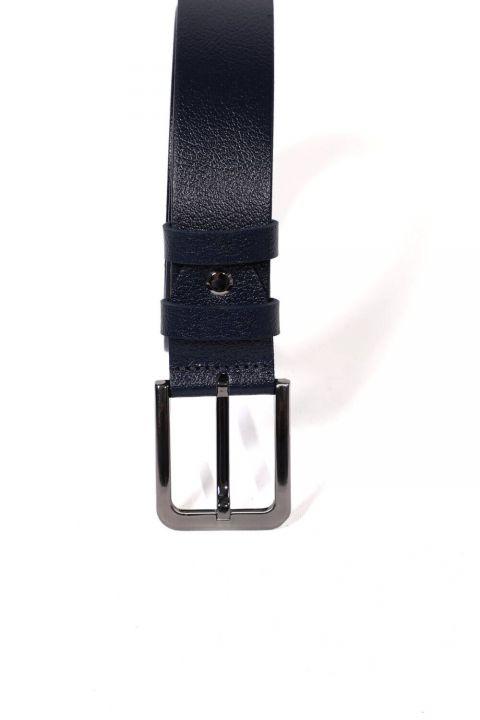 حزام جلد أصلي للرجال باللون الأزرق الداكن