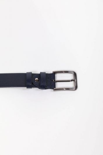 MARKAPIA MAN - Printed Navy Blue Men's Genuine Leather Belt (1)