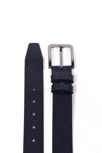 Printed Navy Blue Men's Genuine Leather Belt - Thumbnail